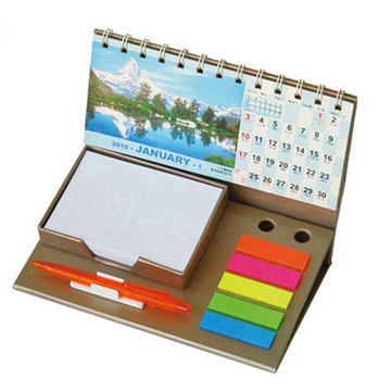Promotional custom printing desktop calendar with notepad