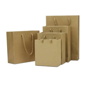 Factory Printed Plain Brown Kraft Paper Bags Wholesale